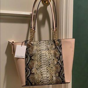 Calvin Klein NEW snakeskin detailed handbag